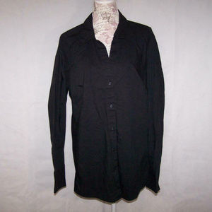 Lane Bryant Shirt Front Buttons Long Sleeves Black